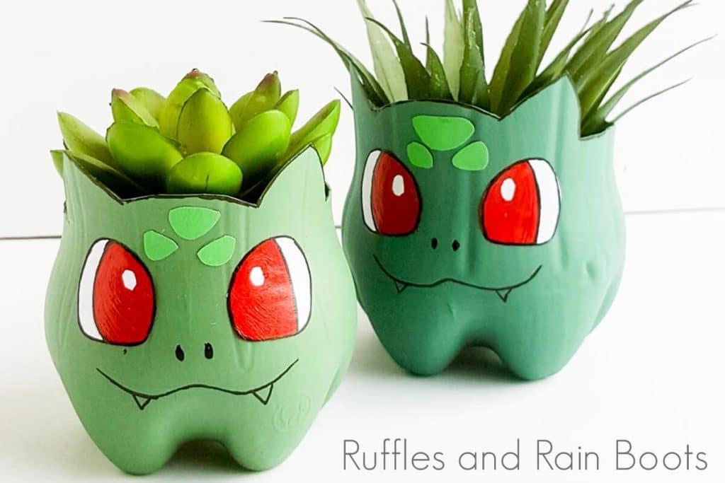 Bulbasaur Planters from Ruffles and Rainboots - DIY Pokemon Gifts