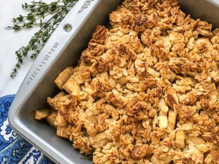 This delicious apple crisp recipe is gluten free, you can also make it with regular flour if you like! Gluten free apple crisp is a great dessert and perfect for parties and family gatherings.