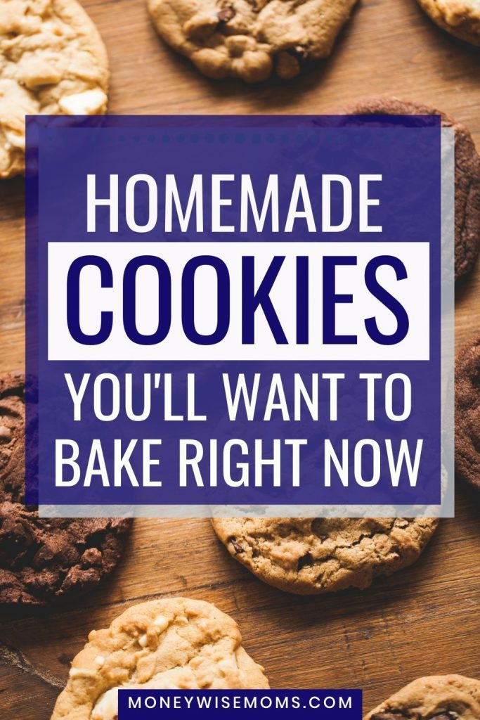 chocolate chip and cocoa cookies behind words saying homemade cookies recipes