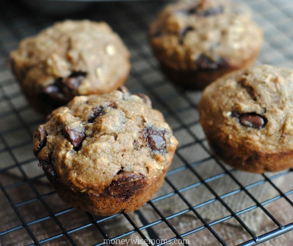 Banana Oatmeal Muffins with chocolate chips