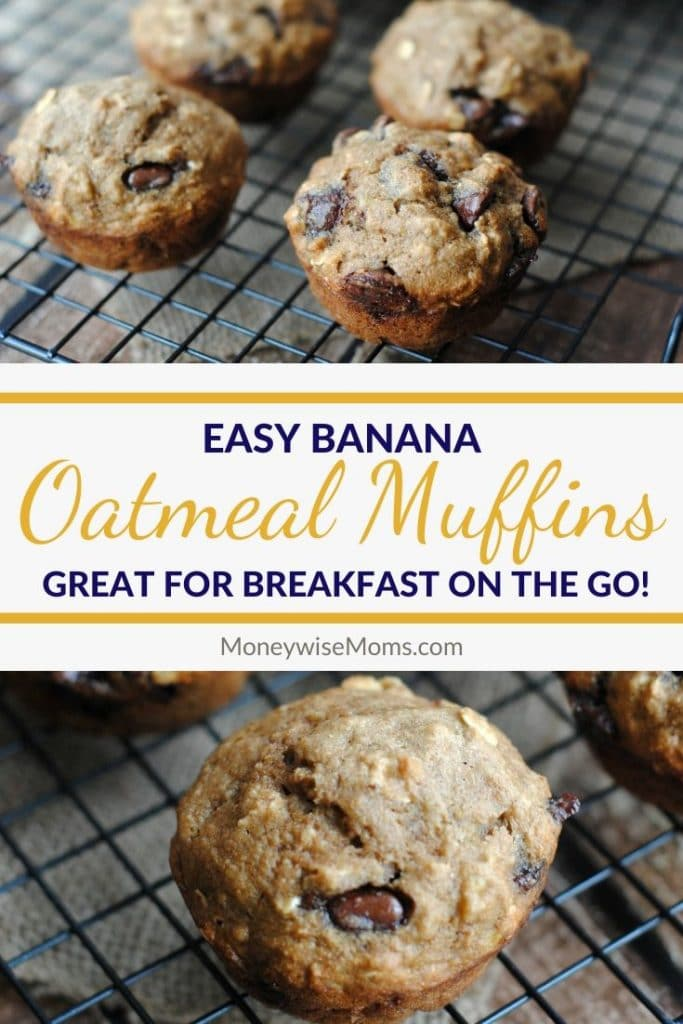 Pin for easy banana oatmeal muffins
