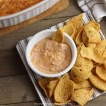 Finished cheesy bean dip in a dish ready to be eaten