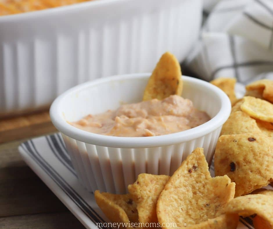 Close up shot of the finished dip recipe.