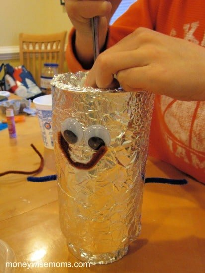 Make a robot from recyclables - winter activities for kids