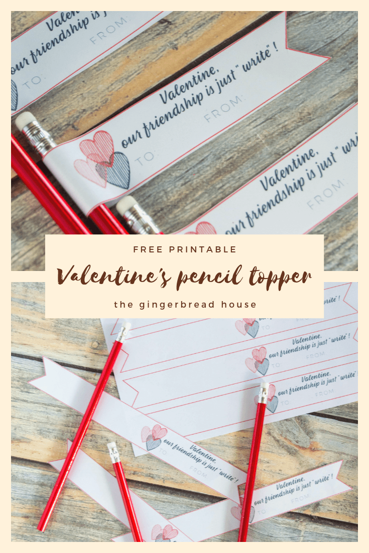 {Free printable} Valentine's pencil topper