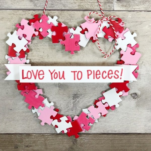 Puzzle Piece Valentine Wreath