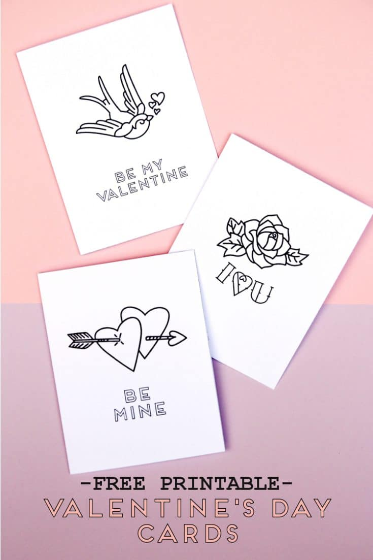 Free Printable Valentine's Day Tattoo Inspired Cards