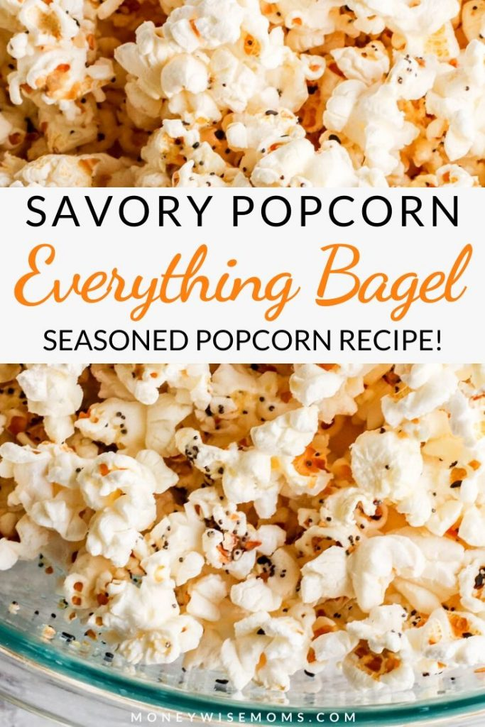 Another image showing the finished recipe for this delicious and easy everything bagel seasoning popcorn.