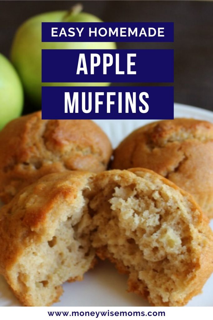Easy apple muffins on white plate with green apples in background