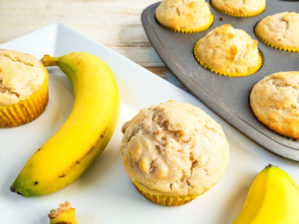 A close up view of the finished recipe for banana nut muffins.
