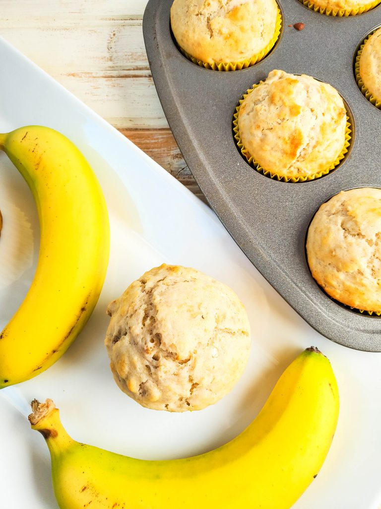 Here's a top down look at the finished banana muffins on a plate ready to be shared.