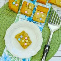 M&M Vanilla Cookie Bars for Spring