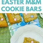 Easter M&M Cookie Bars with vanilla pudding