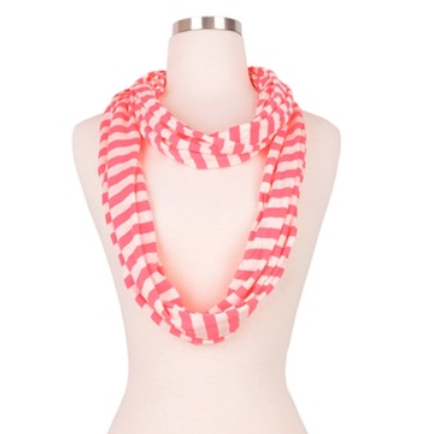 Elegant Solid/Striped Infinity Loop Jersey Scarf