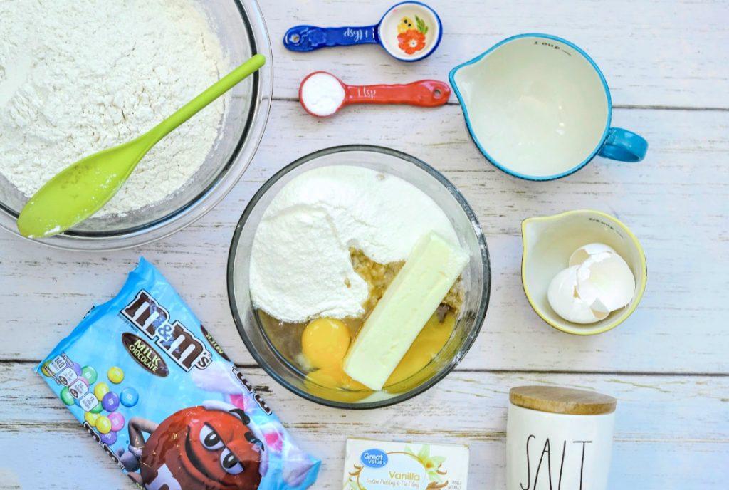 Ingredients for M&M Vanilla Cookie Bars