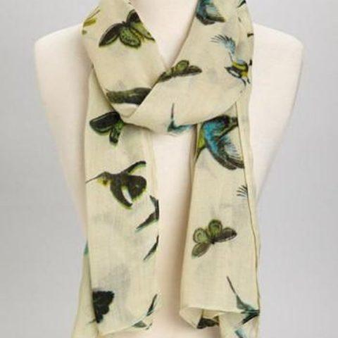Women Lightweight Beige Birds Butterfly Scarf w/Tassels