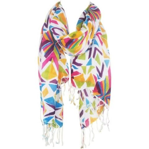 Women Lightweight Multi Color Geometric Abstract Scarf w/Tassels
