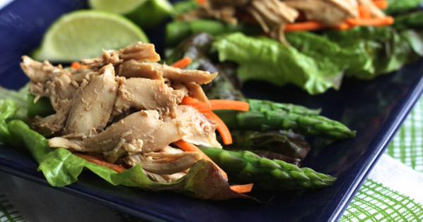 Quick Chicken-Asparagus Lettuce Wraps