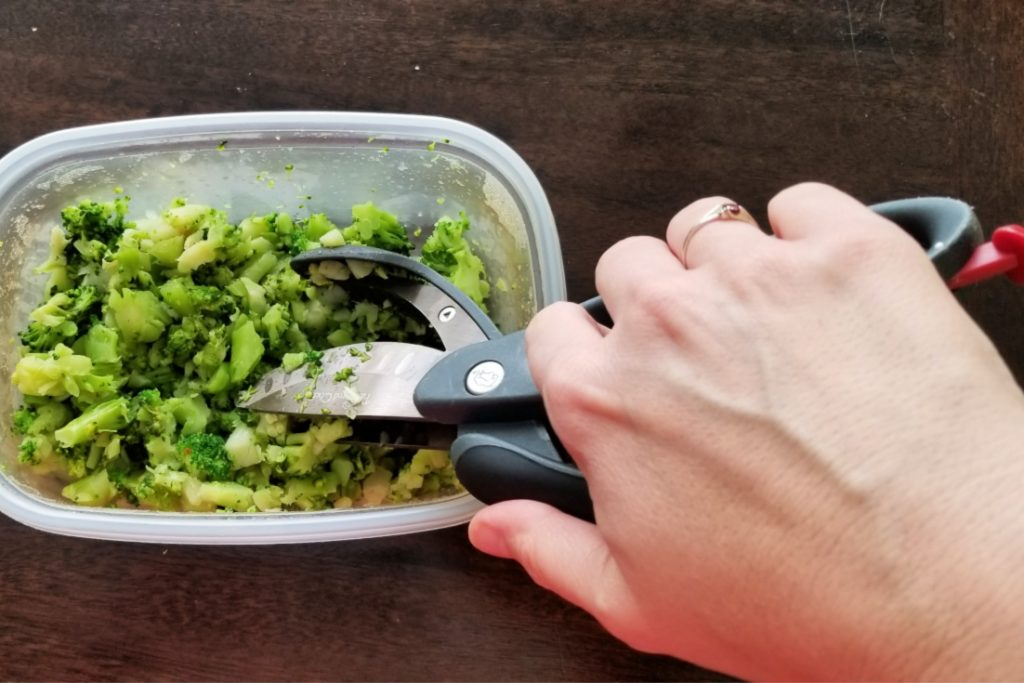Prepare leftover vegetables by chopping