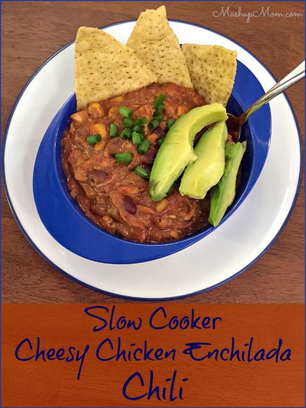 Slow Cooker Cheesy Chicken Enchilada Chili