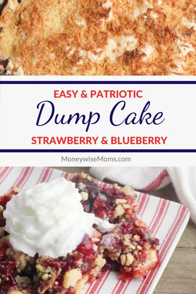 Easy Patriotic Dump Cake recipe made with pie filling and cake mix