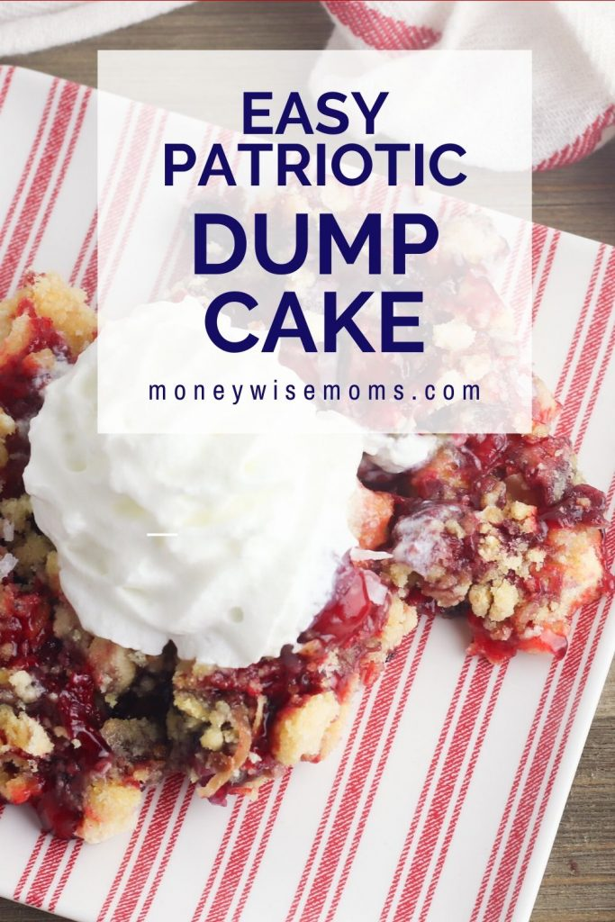 Strawberry Blueberry Coconut Dump Cake on a plate with whipped cream