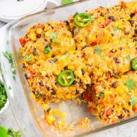 Healthy Vegetarian Mexican Casserole with Rice & Beans