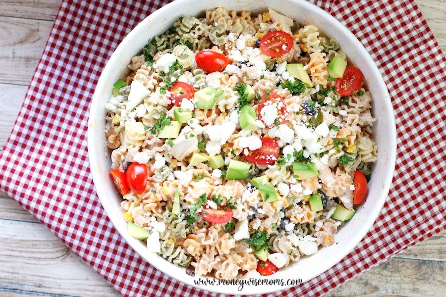 A top down look at the finished mexican pasta salad.