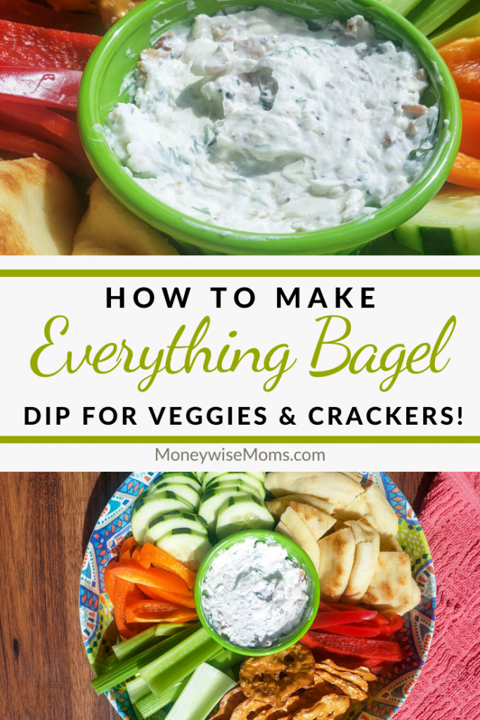 Another pin showing the finished everything bagel seasoning dip and title in the middle.