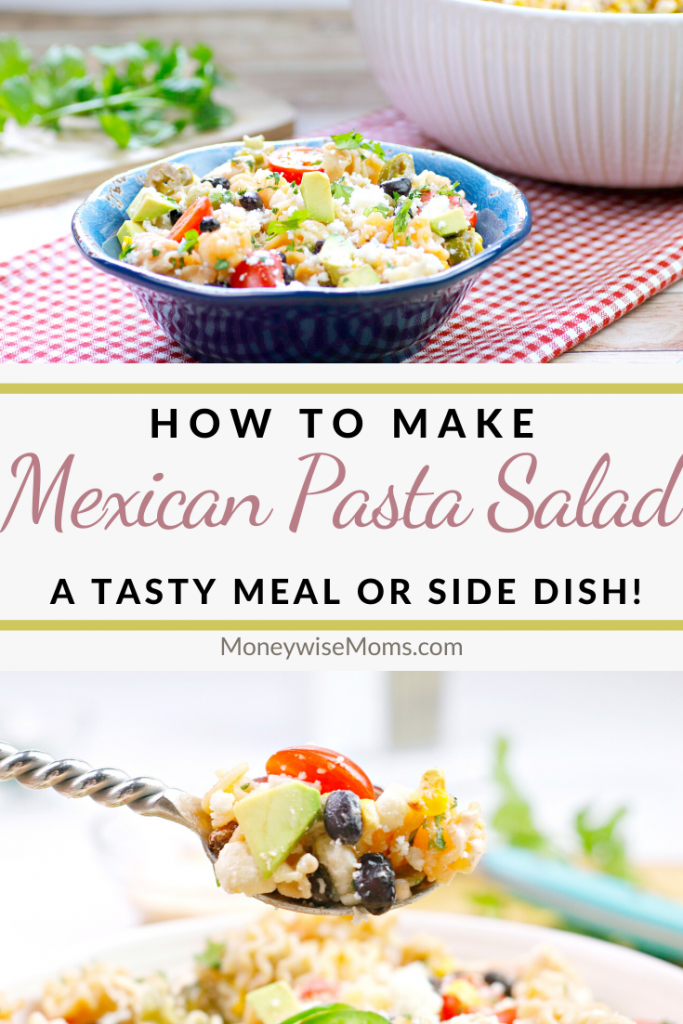 Another pin showing the title and the finished recipe for Mexican pasta salad.