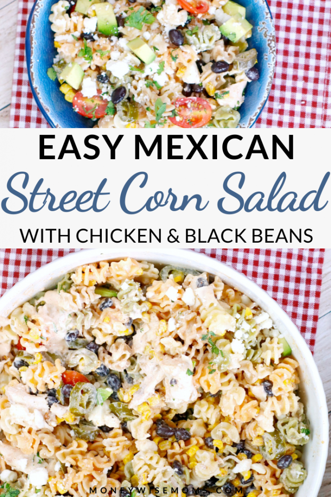 A pin showing the finished mexican pasta salad recipe ready to eat.