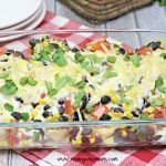 Featured image showing the finished taco chicken casserole