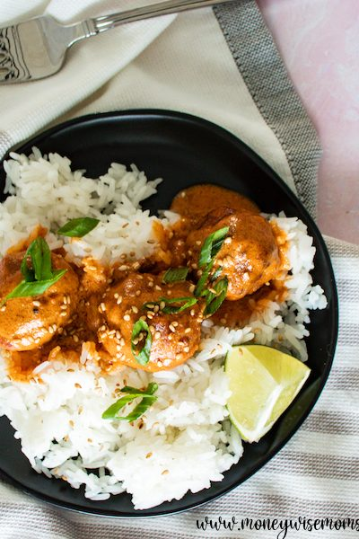 Turkey Meatballs With Red Curry Sauce