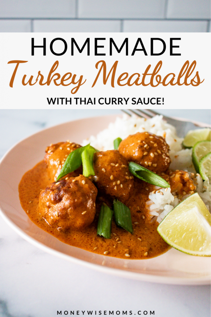 A pin showing the finished turkey meatballs with thai curry sauce ready to eat.