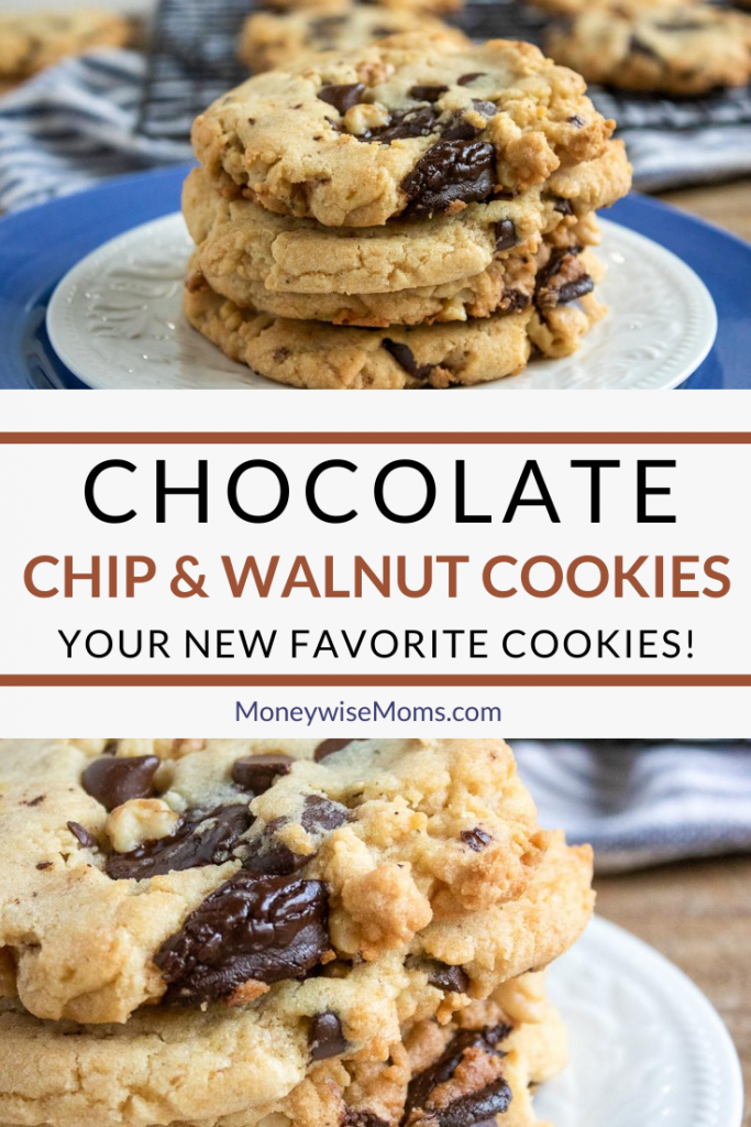 A pin showing the finished chocolate chip walnut cookies.