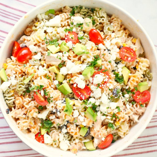 A bowl of the finished pasta salad ready to eat.