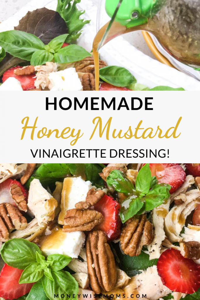 Pin showing the finished honey mustard vinaigrette recipe