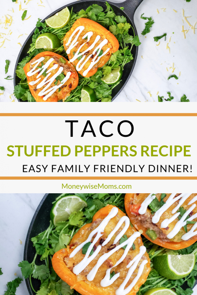 A pin showing the finished taco stuffed peppers with the title in the middle.