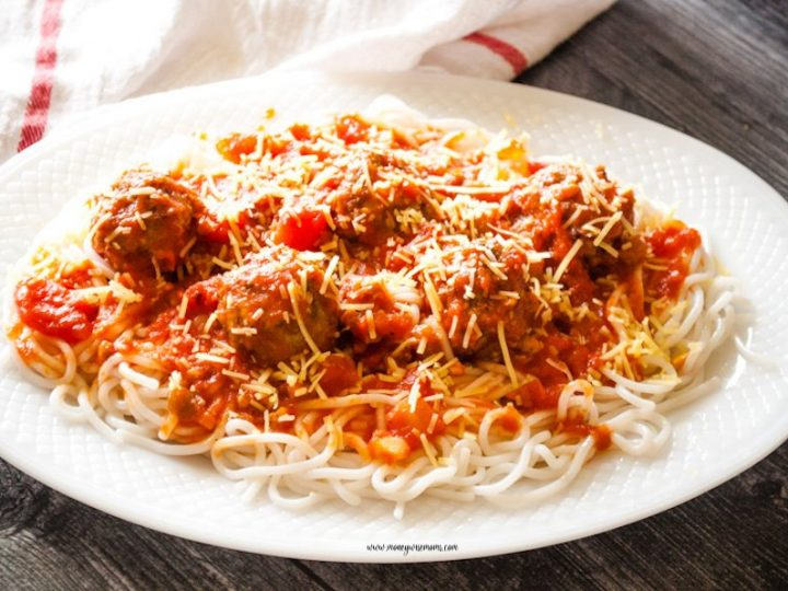 Featured image showing a platter of spaghetti and baked ground turkey meatballs ready to eat.