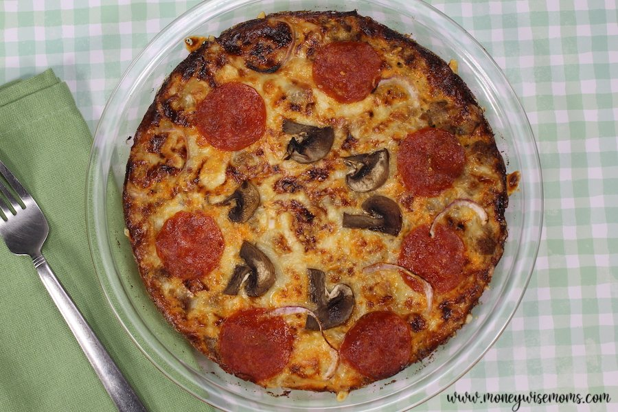 Featured image showing the finished pizza frittata ready to slice and serve.