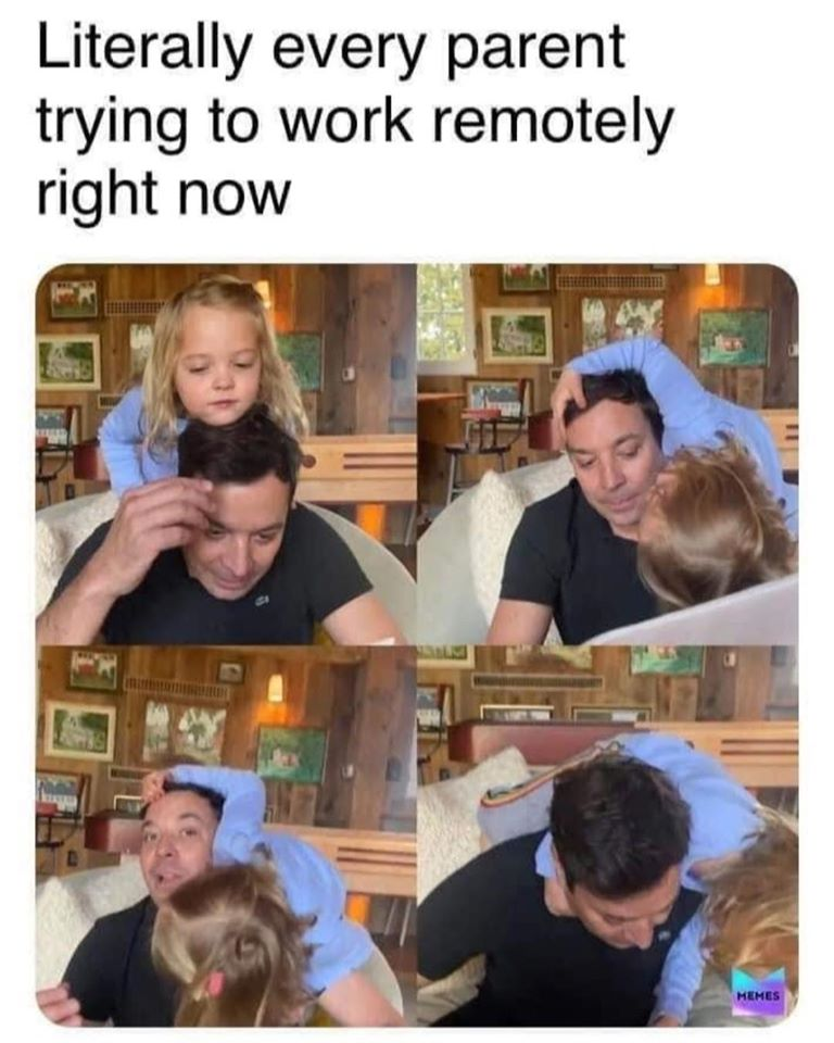 Jimmy Fallon tries to work from home with his daughter climbing on him -- the best work from home memes