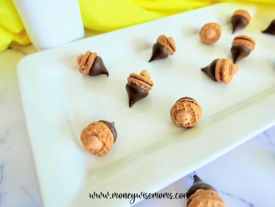 A look at a tray of the finished acorn cookies ready to be shared or enjoyed.
