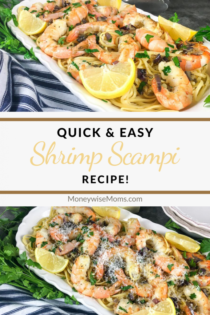 Pin showing the finished recipe for easy shrimp scampi with title in the middle.