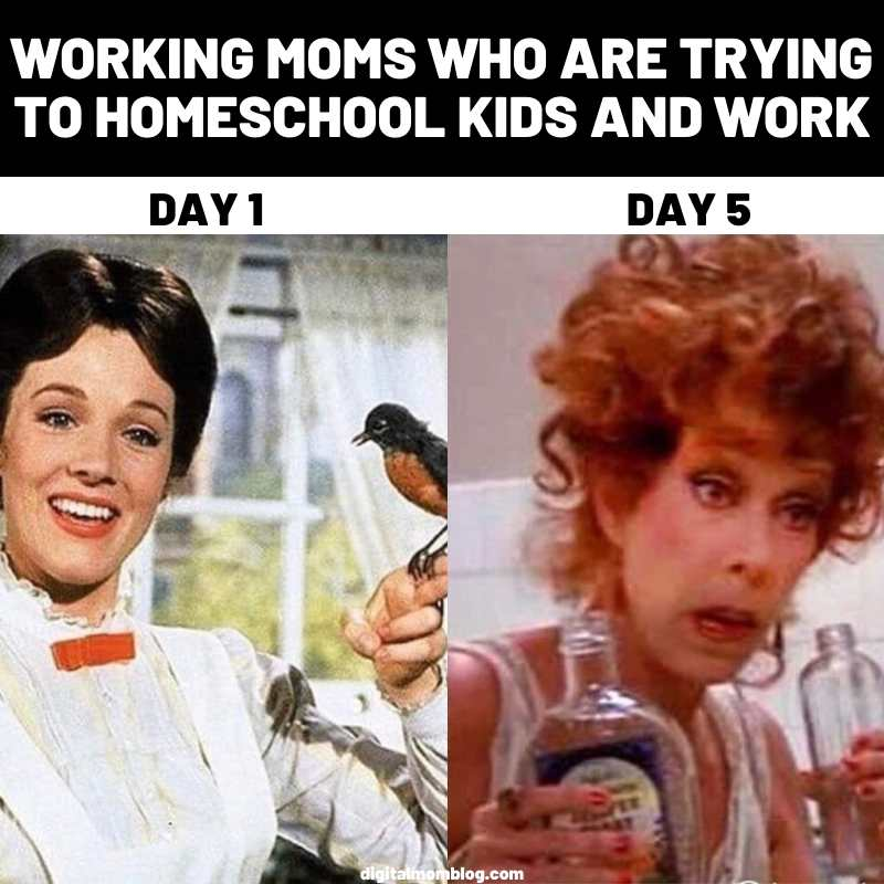 Working moms meme - Julie Andrews as Mary Poppins and then as Ms Hannigan from Annie