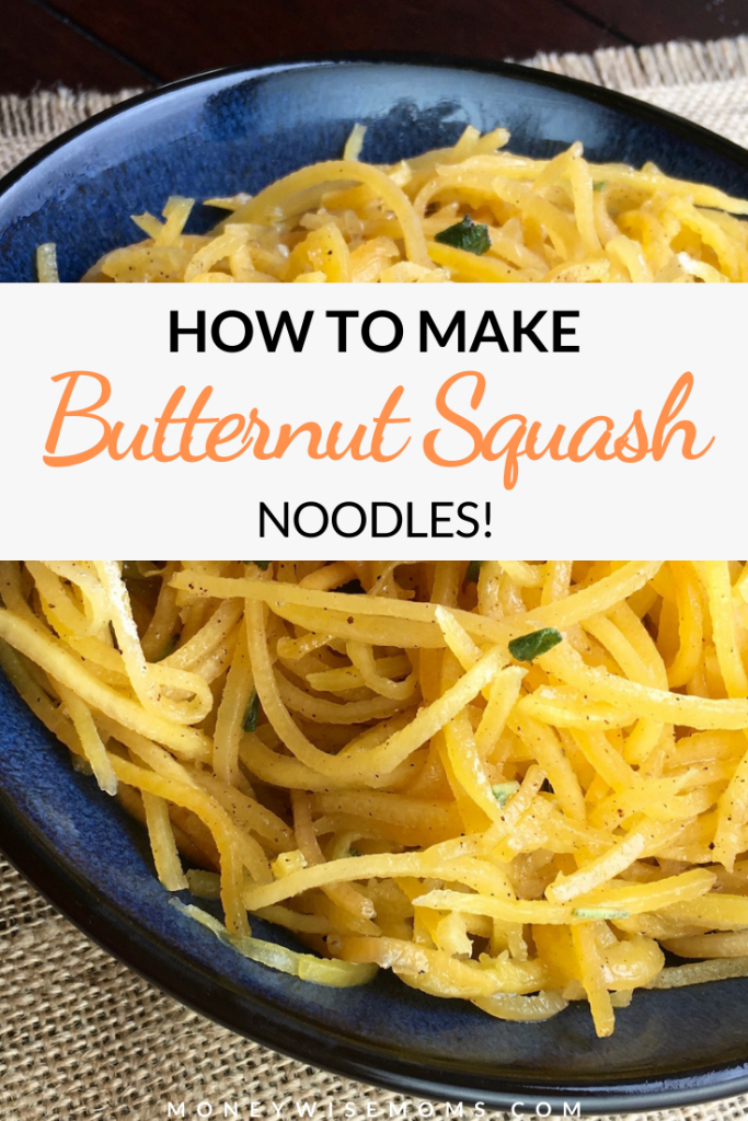 pin showing the finished butternut squash noodles as well as the title across the middle.