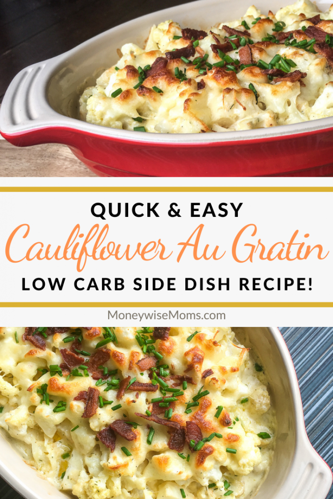 A pin showing the title of quick and easy cauliflower au gratin and then finished recipe photos shown top and bottom.