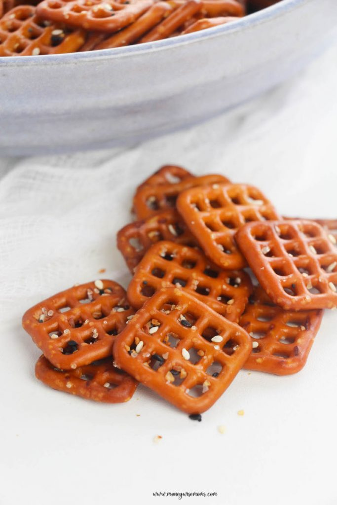Finished pretzels ready to be served. Everything bagel pretzels on a plate ready to eat.