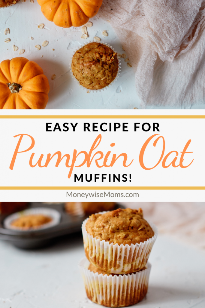 Pin showing the finished pumpkin oatmeal muffins ready to eat with title in the middle.