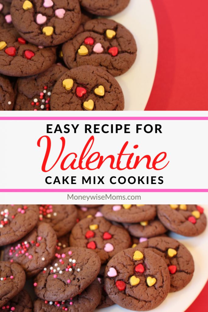 Another pin showing a finished valentine cake mix cookies.