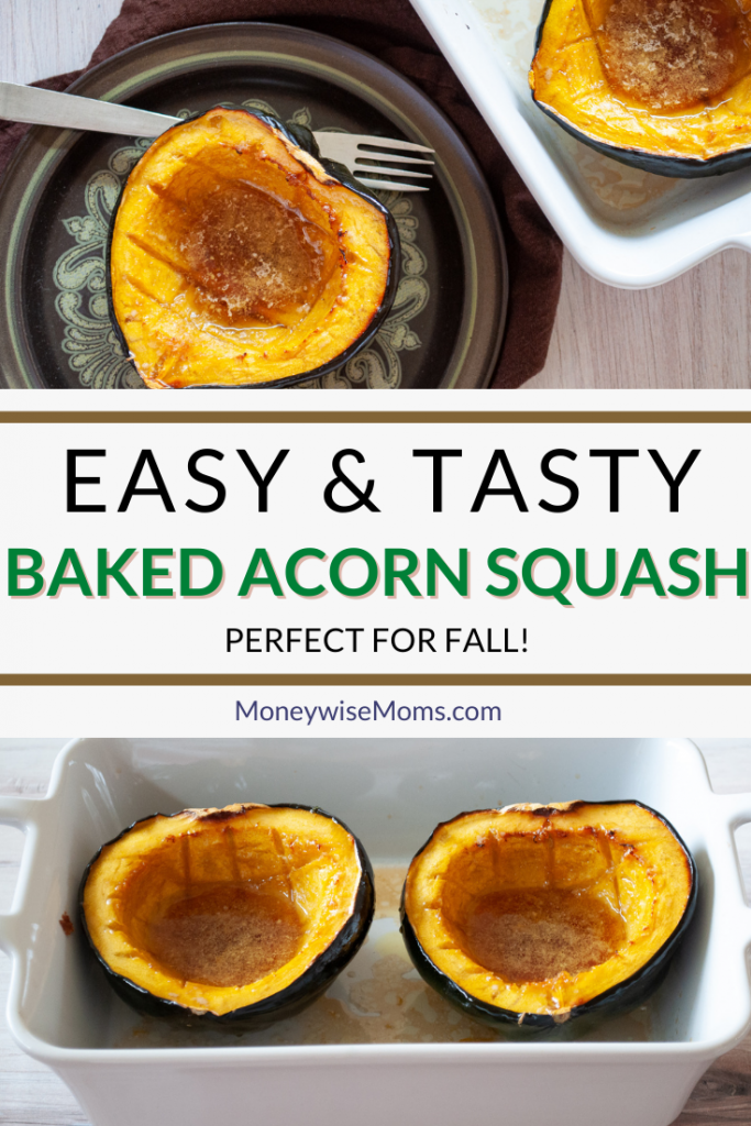 Pin showing the baked acorn squash ready to serve.